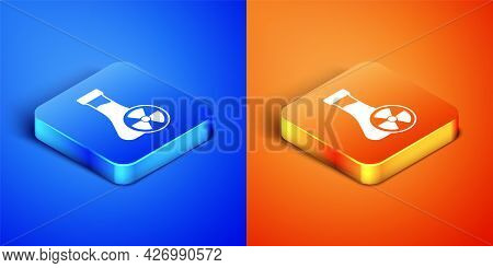 Isometric Laboratory Chemical Beaker With Toxic Liquid Icon Isolated On Blue And Orange Background.