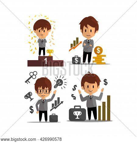 Business Success Achievement Illustration Character Design Set