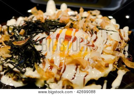 Japan food Okonomiyaki is japanese pizza . poster