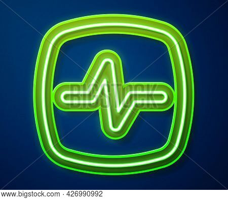 Glowing Neon Line Heart Rate Icon Isolated On Blue Background. Heartbeat Sign. Heart Pulse Icon. Car