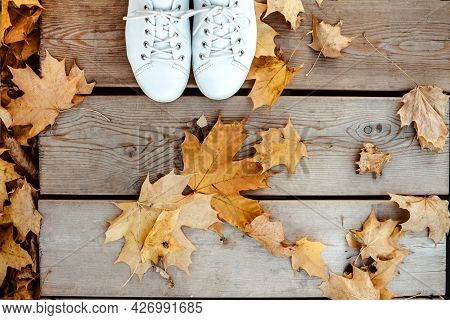 Person Wearing White Shoes Stands On Wooden Footpath During Autumn Walk In The Park. Yellow Maple Le
