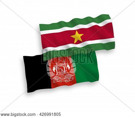 National Fabric Wave Flags Of Republic Of Suriname And Islamic Republic Of Afghanistan Isolated On W