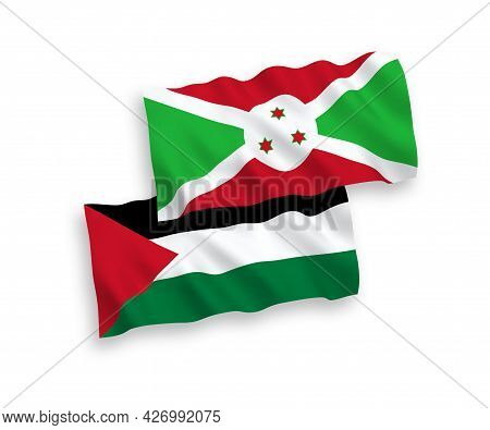 National Fabric Wave Flags Of Burundi And Palestine Isolated On White Background. 1 To 2 Proportion.