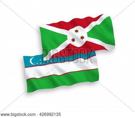 National Fabric Wave Flags Of Burundi And Uzbekistan Isolated On White Background. 1 To 2 Proportion