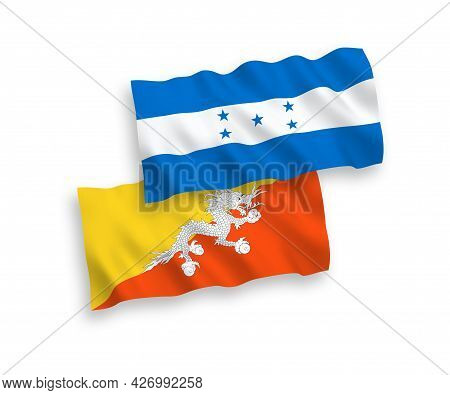 National Fabric Wave Flags Of Kingdom Of Bhutan And Honduras Isolated On White Background. 1 To 2 Pr