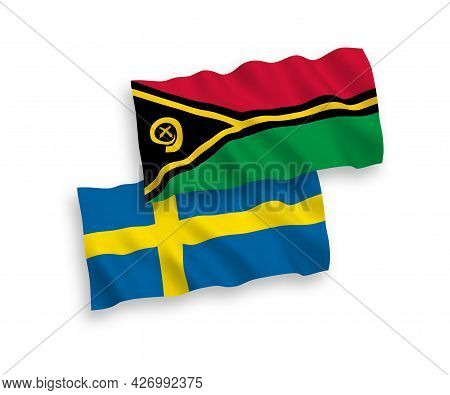 National Fabric Wave Flags Of Sweden And Republic Of Vanuatu Isolated On White Background. 1 To 2 Pr
