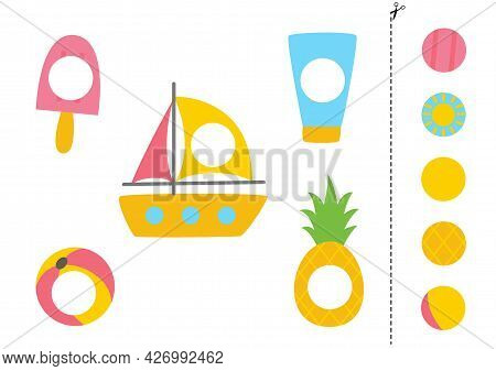 Cut And Glue Parts Of Summer Elements. Educational Logical Game For Kids. Matching Game.