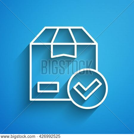 White Line Package Box With Check Mark Icon Isolated On Blue Background. Parcel Box With Checkmark.