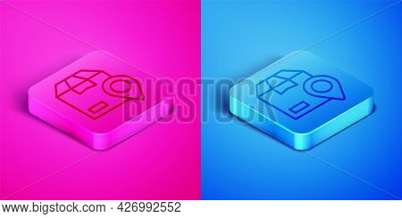 Isometric Line Location With Cardboard Box Icon Isolated On Pink And Blue Background. Delivery Servi