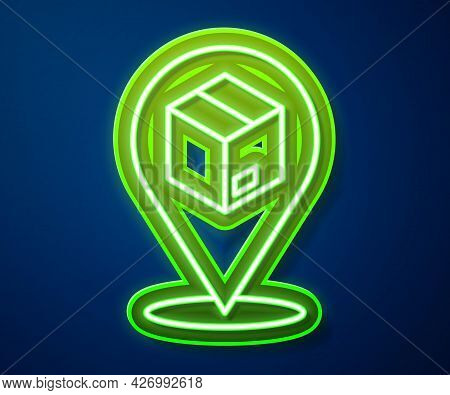 Glowing Neon Line Location With Cardboard Box Icon Isolated On Blue Background. Delivery Services, L