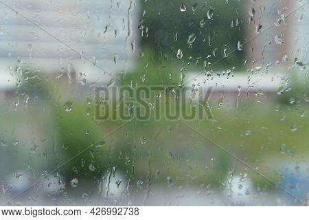 Rain Drops On Window Outside View Water Raindrop