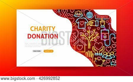 Charity Donation Neon Landing Page. Vector Illustration Of Donate Promotion.