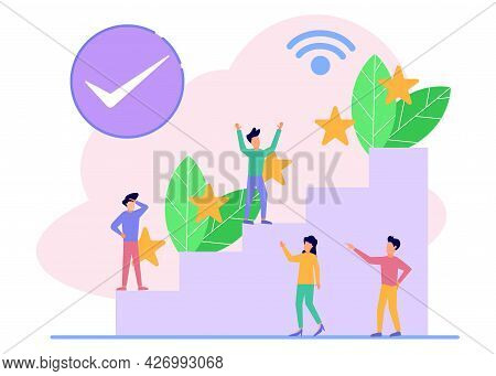Vector Illustration Isolated On White Background. Best Performance Score, Score Five Points. People