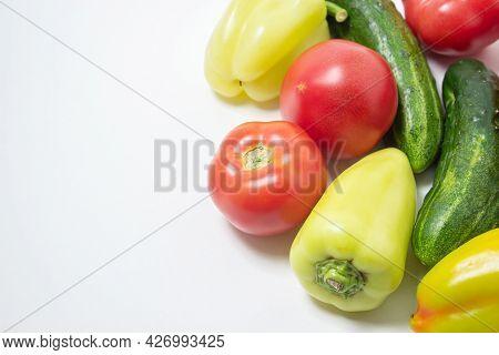 Vegetables On A White Background. Ripe Natural Vegetables. Healthy Diet. Vegetables Close-up