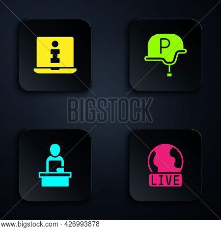 Set Live Report, Information, Breaking News And War Journalist. Black Square Button. Vector