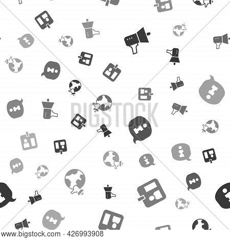 Set Megaphone, Journalist Id Card, Information And World News On Seamless Pattern. Vector