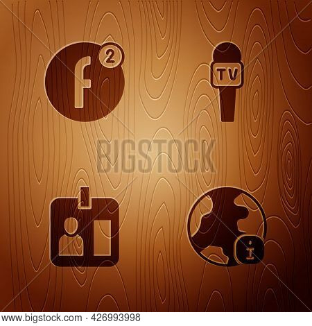 Set World News, Create Account, Journalist Id Card And Microphone On Wooden Background. Vector