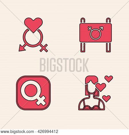 Set Love Yourself, Gender, Feminist Activist And Female Gender Icon. Vector