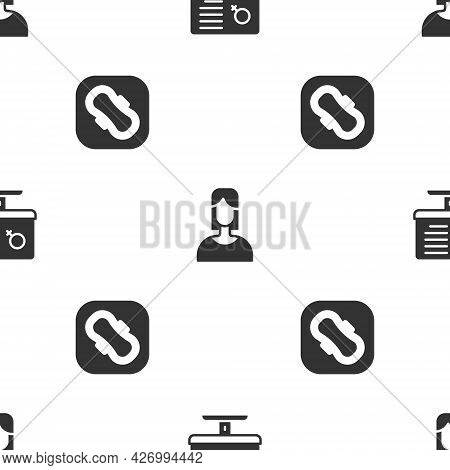Set Dating App, Female And Sanitary Napkin On Seamless Pattern. Vector