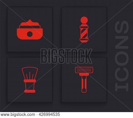 Set Shaving Razor, Gel Wax For Hair Styling, Classic Barber Shop Pole And Brush Icon. Vector