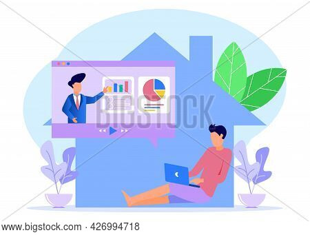 Vector Illustration Of A Business Concept. Work From Home, Meet With Superiors Online. Distance Educ