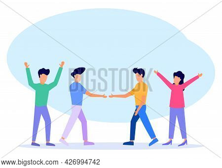 Vector Illustration, Happy Friendship Day Together With Friends, Shaking Hands, Making Peace, Happy