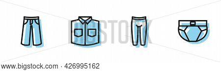 Set Line Leggings, Pants, Shirt And Men Underpants Icon. Vector