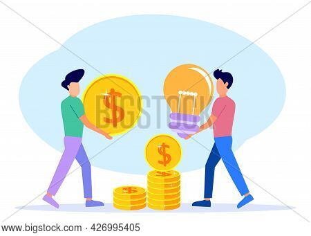 2 Business Men Work Together To Exchange Ideas And Money To Build Their Business. Starting And Looki