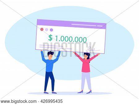 Vector Illustration In Flat Design. Happy Men And Women Holding A Million Dollar Bank Check. Winner