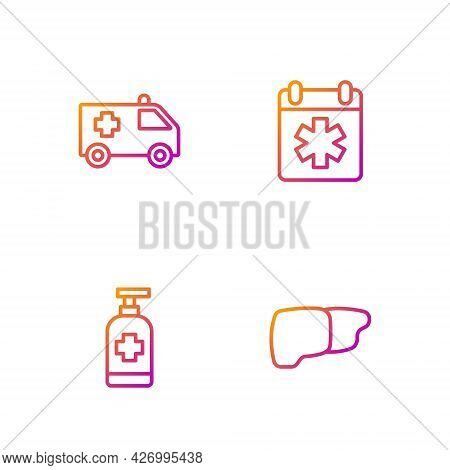 Set Line Human Organ Liver, Antibacterial Soap, Ambulance Car And Doctor Appointment. Gradient Color