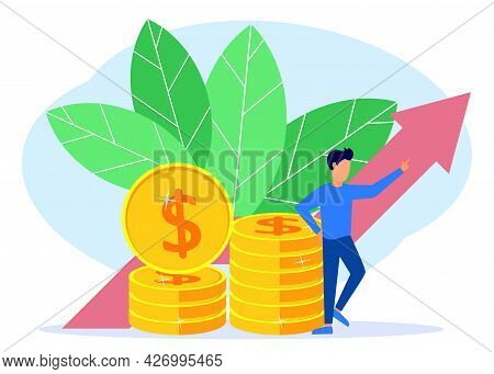 Vector Illustration Of Business Concept, Businessman Leaning On A Pile Of Coins, Rapid Economic Grow