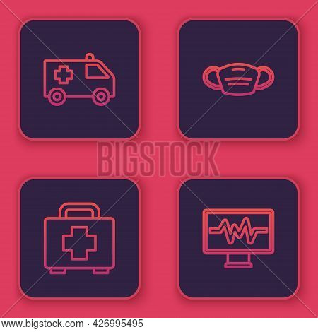Set Line Ambulance Car, First Aid Kit, Medical Protective Mask And Monitor With Cardiogram. Blue Squ