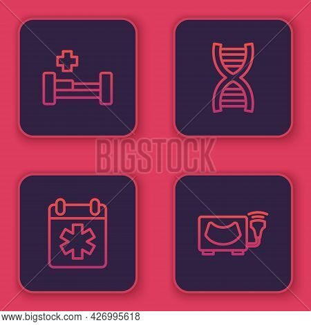Set Line Hospital Bed, Doctor Appointment, Dna Symbol And Ultrasound. Blue Square Button. Vector