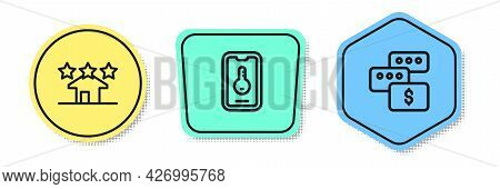 Set Line Real Estate, Online Real And Price Negotiation. Colored Shapes. Vector
