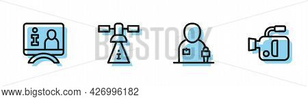 Set Line Journalist News, Television Report, Satellite And Cinema Camera Icon. Vector