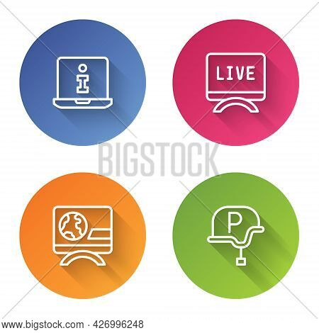 Set Line Information, Live Report, Breaking News And War Journalist. Color Circle Button. Vector