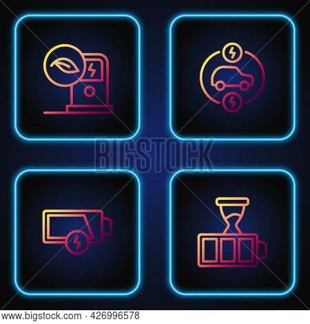 Set Line Battery Charge, Low Battery, Electric Car Charging Station And . Gradient Color Icons. Vect