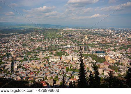 Georgia, Tbilisi - May 8, 2021: Panoramic View Of Tbilisi. Capital Of Georgia.