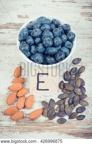 Vintage Photo, Natural Ingredients Or Products As Source Vitamin E, Minerals And Dietary Fiber, Heal