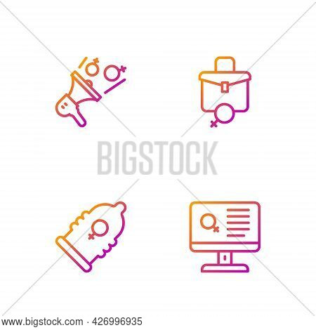 Set Line Dating App, Condom, Feminist Activist And Work For Female. Gradient Color Icons. Vector