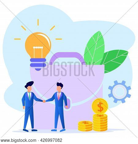 Vector Illustration Of A Business Concept. Two Businessmen Shaking Hands Against The Backdrop Of Big