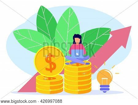 Vector Illustration Of Business Concept, Businesswoman Sitting On A Pile Of Coins, Rapid Economic Gr