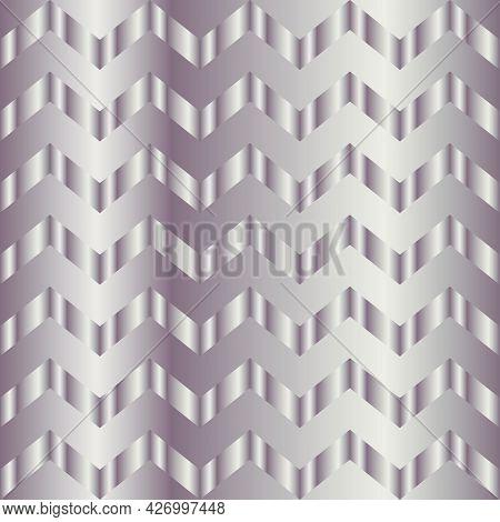 Metal Gradient Chevron Pattern. Abstract Modern Vector Background. Shiny Metallic Zigzag Wallpaper.