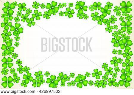 Saint Patrick's Day Vector Oval Frame With Small Green Trefoil Clover Shamrock Leaves. Irish Festiva