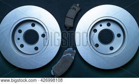 Spare Parts. Auto Motor Mechanic Spare Or Automotive Piece On Black Background. New Metal Car Part.