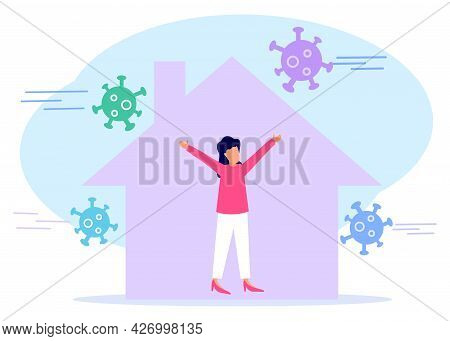 Vector Illustration, Isolate Yourself From Pandemic. A Woman Is Doing Quarantine And Self-isolation