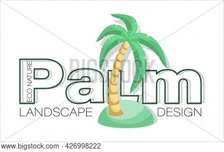 Palm. Vector Isolated Icon, Emblem With Palm Tree On The Seashore. Design For Landscape Design, Ecol