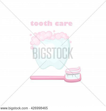 Colored Illustration About Health And Tooth Care. White Clean Tooth With Pink Toothpaste And Toothbr
