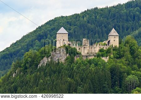 Castle Ruins Gallenstein. Beautiful Old Castle In The Austrian Alps With Forest And Rock On The Hill