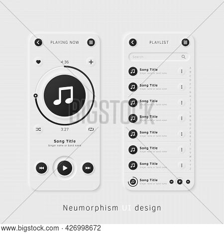 User Interface Elements For Mobile App. Neumorphism User Interface Design Kit. Neumorphism Ui Ux Ico